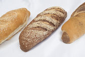Selection of bread loaves on white — Stock Photo