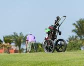 Chariot sur un parcours de golf avec le golfeur — Photo