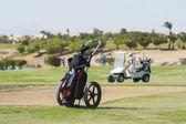 Chariot de golf caddy sur fairway — Photo