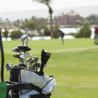 Closeup of golf clubs in a bag — Stok fotoğraf