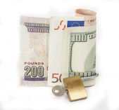 Locked finances concept currency — Stock Photo
