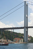 Suspension bridge support against blue sky — Stock Photo