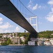 Suspension bridge support over a river — Stok fotoğraf