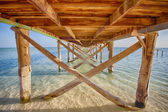 Underside of a wooden jetty in tropical sea — Stock Photo