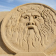 Sand sculpture of greek god zeus — Stock Photo