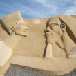 Stock Photo: Sand sculpture of ramses II and nefertari