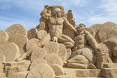 Sand sculpture of hercules — Stock Photo