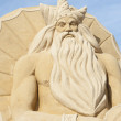Sand sculpture of greek god poseidon — Stock Photo #38351985