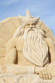 Sand sculpture of greek god poseidon — Stock Photo