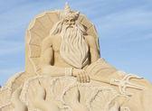 Areia escultura do deus grego poseidon — Foto Stock