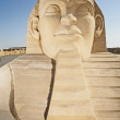 Large sand sculpture of the great egyptian sphinx — Stock Photo