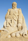 Large sand sculpture statue of Napoleon Bonaparte — Stock Photo