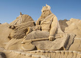 Large sand sculpture of Norse viking — ストック写真