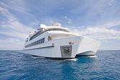 Large luxury catamaran at sea — ストック写真