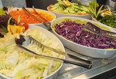 Salad selection at restaurant buffet — Stock Photo