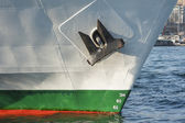 Bow of a large ship in port — Stock Photo