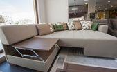 Large sofa in furniture showroom — Stock Photo