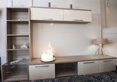 TV shelf unit on wall in show room — Stock Photo
