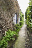 Footpath between old english country cottages in village — Stock Photo