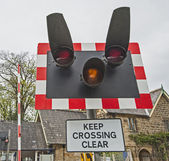 Level crossing warning sign — Stock Photo