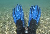 Pair of fins underwater in lagoon — Stock Photo