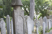 Ornate turkish headstones in graveyard — Stock Photo