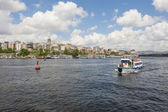 Panoramic view of large river in city — Stock Photo