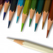 White and Colorful pencil on white background — Stok fotoğraf