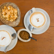Top view White ceramic cup of coffee and letter Biscuits — ストック写真