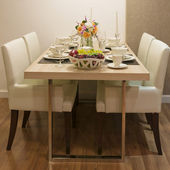 Side view of Top wood Dining Table — Stock Photo