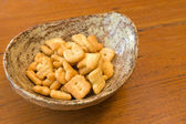 Letter Biscuits in ceramic Bowl — Stock Photo