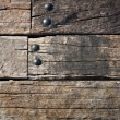 Grunge old wood Wall and round metal nut — Stock Photo