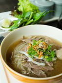 Front of Pho Lao style noodle soup — Stock Photo