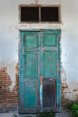 Front View of Old Grunge Green Wood Door — Stock Photo
