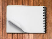 White Note Book Blank Page on Wood Horizontal — Stock Photo