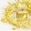 Gold Gift Box New Year and Christmas Decoration — Photo