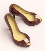 Crocodile leather women's shoes with high heels — Stock Photo