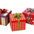 Stock Photo: Gifts with ribbons isolated
