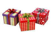 Gifts with ribbons isolated — Stock Photo