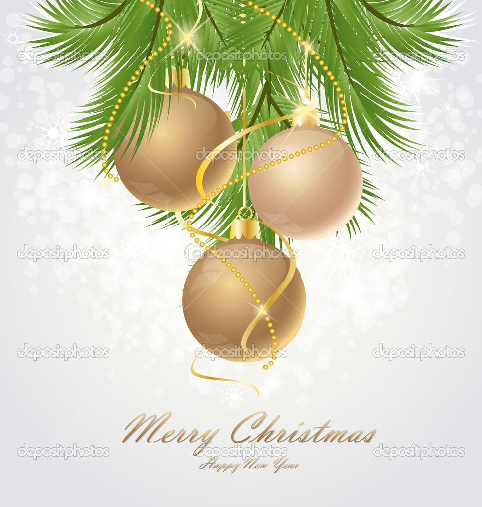 Vector Christmas background decorated with branches — ベクター素材ストック #12519206