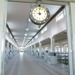 Industrial space, Industrial hall, clock — Stock Photo