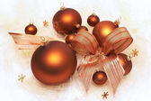 Christmas decorations, brown baubles — Stock Photo