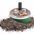 Stock Photo: Ashtrays, butts and ashes on white background