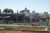 Railway, locomotives in the roundhouse — Stok fotoğraf