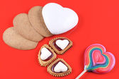 Heart, cakes and lollipop, Valentine's Day — Stock Photo
