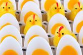 Easter Chicken, candles that look like eggs — Stock Photo