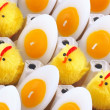 Stock Photo: Easter Chicken, candles that look like eggs
