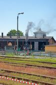 Railway, locomotives in the roundhouse — Stock Photo