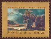 Postage stamp, Rembrandt Van Rijn, landscape — Stock Photo