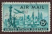 Postage Stamp, New York, Air Mail Stamp — Stock Photo